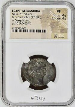 Nero (AD 54-68), BI Tetradrachm, NGC (VF 4/5 4/5), rv Serapis, Roman Coin