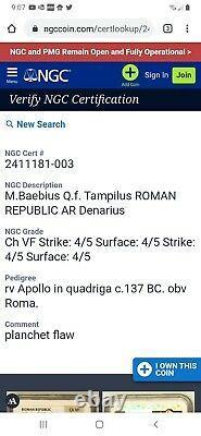 Ngc Ancients137 Bc Silver Coin Roman Republic Denarius Baebius Tampilus Apollo