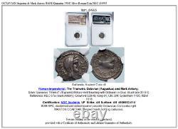 OCTAVIAN Augustus & Mark Antony RARE Quinarius 39BC Silver Roman Coin NGC i84995
