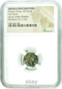 Pontius Pilate Bronze Prutah Coin Under Emperor Tiberius NGC Certified, With Box