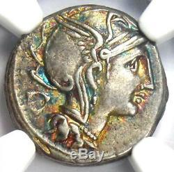 Roman A. Cl. Pulcher AR Denarius Silver Coin 110 BC NGC XF (EF) Rainbow Tone