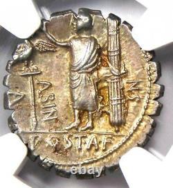 Roman A. Post. Albinus AR Denarius Serratus Silver Coin 81 BC NGC Choice AU