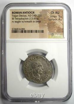 Roman Antioch Trajan Decius BI Tetradrachm Coin 249-251 AD NGC Choice AU