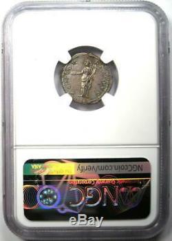 Roman Antoninus Pius AR Denarius Coin 138-161 AD. NGC AU 5/5 Strike & Surfaces