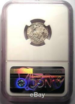 Roman Augustus AR Denarius Coin Lugdunum 27 BC 14 AD Certified NGC AU