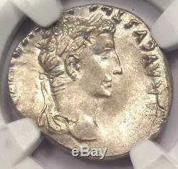 Roman Augustus AR Denarius Coin Lugdunum 27 BC 14 AD NGC AU Condition