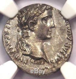 Roman Augustus AR Denarius Coin Lugdunum 27 BC 14 AD NGC MS Condition (UNC)