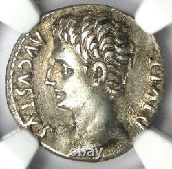 Roman Augustus Octavian AR Denarius Coin 15 BC Certified NGC Choice XF (EF)