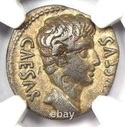 Roman Augustus Octavian AR Denarius Coin 19 BC Certified NGC VF (Very Fine)