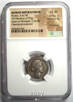 Roman Brutus AR Denarius Silver Coin 42 BC Certified NGC Choice XF (EF)