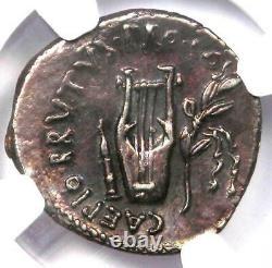 Roman Brutus AR Denarius Silver Coin 54 BC Certified NGC Choice XF (EF)