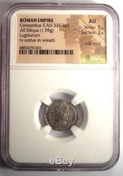 Roman Constantius II AR Siliqua Coin 337-361 AD Certified NGC AU