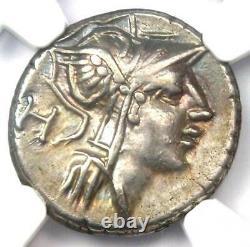 Roman D. Silanus Lf. AR Denarius Silver Coin 91 BC Certified NGC Choice VF