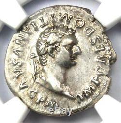 Roman Domitian as Augustus AR Denarius Coin 81-96 AD. Certified NGC XF (EF)