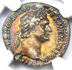 Roman Domitian as Augustus AR Denarius Coin 81-96 AD NGC XF Rainbow Tone