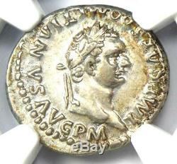 Roman Domitian as Augustus AR Denarius Dolphin Coin 81-96 AD NGC Choice XF