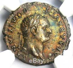 Roman Domitian as Caesar AR Denarius Silver Coin 81-96 AD. Certified NGC XF (EF)