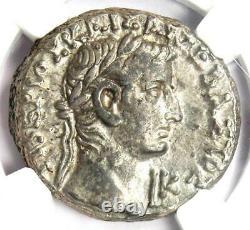 Roman Egypt Tiberius with Augustus AR Tetradrachm Coin 33 AD NGC Choice XF
