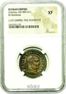 Roman Emperor Galerius Coin NGC Certified XF, With Story, Certificate
