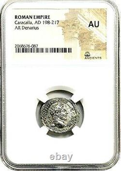 Roman Emperor Silver Denarius of Caracalla Coin NGC Certified AU & Story