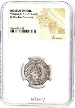 Roman Emperor Valerian 1st Silver Coin NGC Certified & Story, Certificate