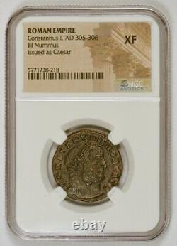 Roman Empire AD 305-306 BI Nummus Ancient Coin for Constantius I, NGC Graded XF