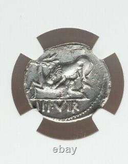 Roman Empire Augustus Denarius Lion Attacks Stag NGC VF Ancient Silver Coin