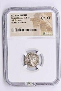 Roman Empire, Caracalla AR Denarius AD 198-217 NGC Ch XF Witter Coin