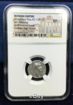 Roman Empire Coin Silver Denarius of Antoninus Pius NGC XF 138-161 AD