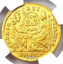 Roman Empire Constantius II AV Solidus Gold Coin 337-361 AD NGC AU 5 Strike