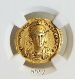Roman Empire Constantius II Solidus NGC CH VF 5/3 Ancient Gold Coin