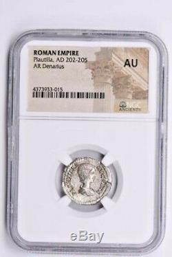 Roman Empire, Plautilla AR Denarius AD 202-205 NGC AU Witter Coin