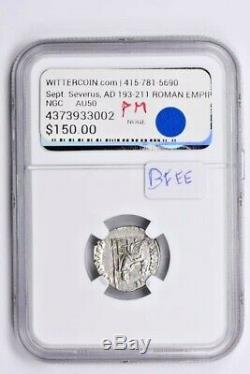 Roman Empire, Sept. Severus AR Denarius AD 193-211 NGC AU Witter Coin