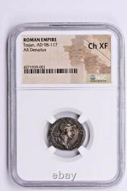 Roman Empire, Trajan AR Denarius AD 98-117 NGC Ch XF Witter Coin