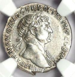 Roman Empire Trajan AR Denarius Silver Coin 98-117 AD Certified NGC Choice AU