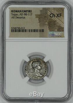 Roman Empire Trajan Ad 98-117 Denarius Ngc Ancient Coin Choice Xf(38012)