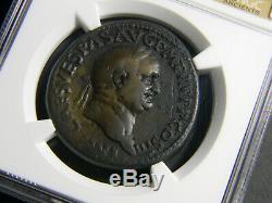 Roman Empire Vespasian AD 69-79 Sestertius Coin NGC Choice Fine