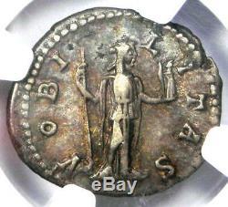 Roman Geta AR Denarius Silver Coin 209-211 AD Certified NGC XF (EF) Rare