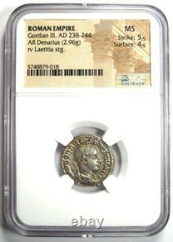 Roman Gordian III AR Denarius Coin 238-244 AD NGC MS (UNC) 5/5 Strike