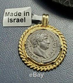 Roman Hadrian AR Denarius Coin 117 138 AD in Aber & Levine Gold Bezel Pendant