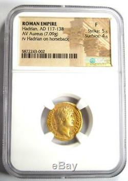 Roman Hadrian Gold AV Aureus Coin 117-138 AD Certified NGC Fine