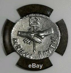 Roman Imperatorial. Albinus Brutus. 48 BC. Stunning Denarius Silver Coin, NGC VF