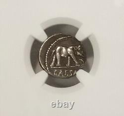 Roman Imperatorial Julius Caesar Denarius Elephant NGC CH XF Ancient Silver Coin