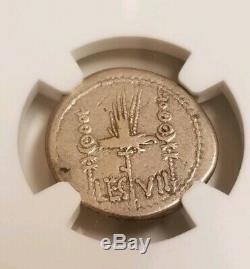 Roman Imperatorial Marc Antony Denarius NGC VF Ancient Silver Coin