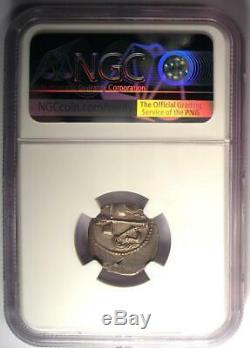 Roman Julius Caesar AR Denarius Coin 48 BC Elephant Snake Certified NGC AU