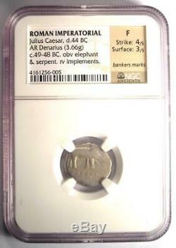 Roman Julius Caesar AR Denarius Coin 48 BC Elephant Snake Certified NGC Fine