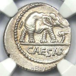 Roman Julius Caesar AR Denarius Coin 48 BC Elephant Snake NGC AU 5 Strike