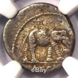 Roman Julius Caesar AR Denarius Coin 48 BC Elephant Snake NGC Choice Fine