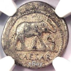 Roman Julius Caesar AR Denarius Coin 48 BC Elephant Snake NGC Very Fine (VF)