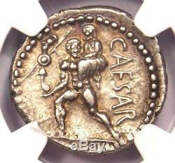 Roman Julius Caesar AR Denarius Silver Coin 48 BC Venus, Aeaneas NGC Choice XF